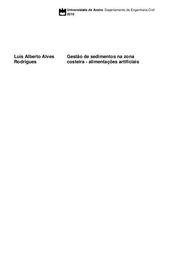 Universidade de Aveiro 2010 Departamento de Engenharia Civil Luís Alberto Alves Rodrigues Gestão de sedimentos na zona cos...