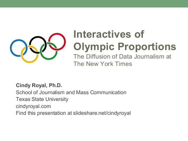 Interactives ofOlympic ProportionsThe Diffusion of Data Journalism atThe New York TimesCindy Royal, Ph.D.School of Journal...