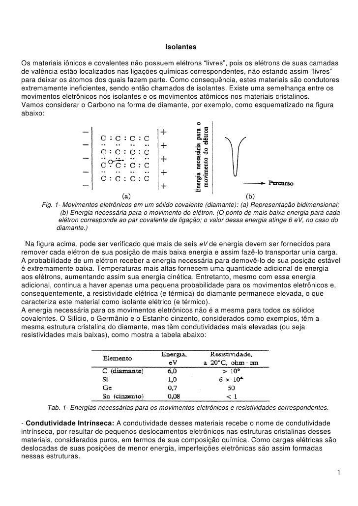 """IsolantesOs materiais iônicos e covalentes não possuem elétrons """"livres"""", pois os elétrons de suas camadasde valência estã..."""