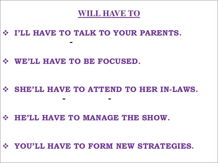 WILL HAVE TO<br /><ul><li>I'LL HAVE TO TALK TO YOUR PARENTS.</li></ul>मुझे तुम्हारे माता-पिता से बात करनी पड़ेगी !<br /><ul...
