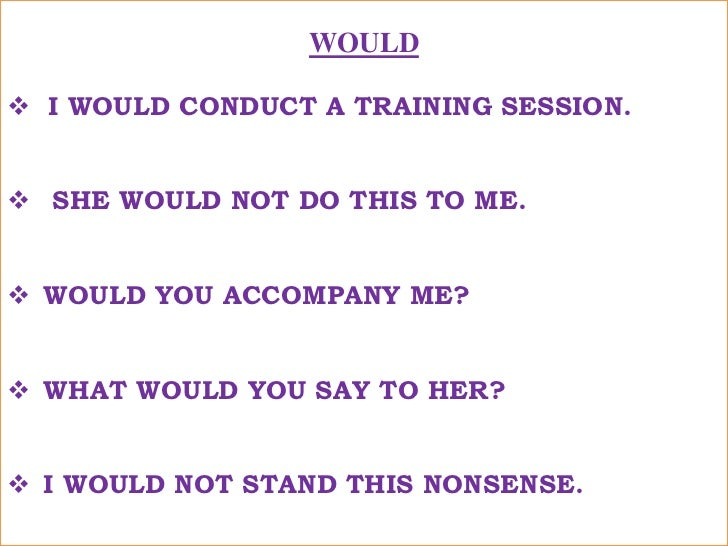 WOULD<br /><ul><li>I WOULD CONDUCT A TRAINING SESSION.</li></ul>मैं एक प्रशिक्षण कार्यक्रम करूँगा !<br /><ul><li>  SHE WOU...