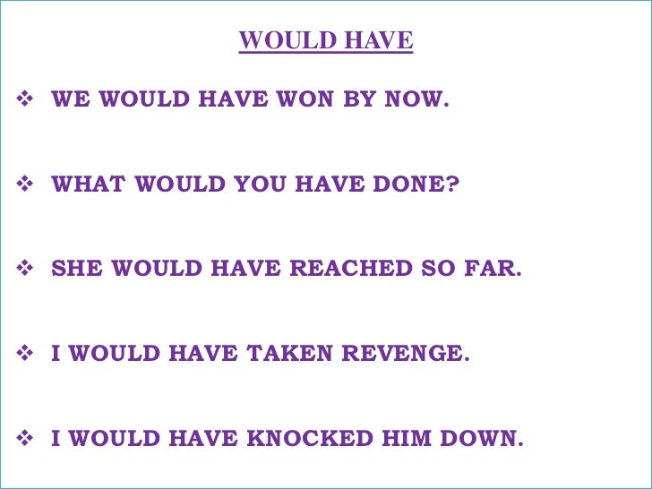 WOULD HAVE<br /><ul><li>WE WOULD HAVE WON BY NOW.</li></ul>अब तक हम जीत गए होते !<br /><ul><li>WHAT WOULD YOU HAVE DONE?</...