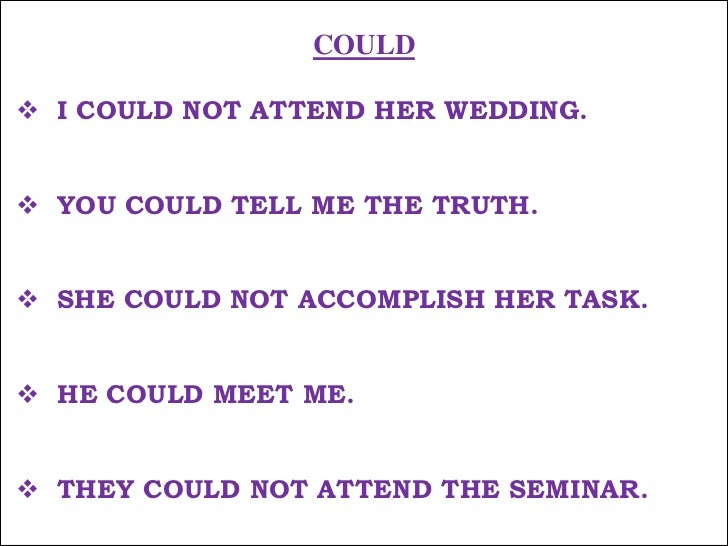 COULD<br /><ul><li>I COULD NOT ATTEND HER WEDDING.</li></ul>मैं उसकी शादी पर नहीं जा सका !<br /><ul><li>YOU COULD TELL ME ...