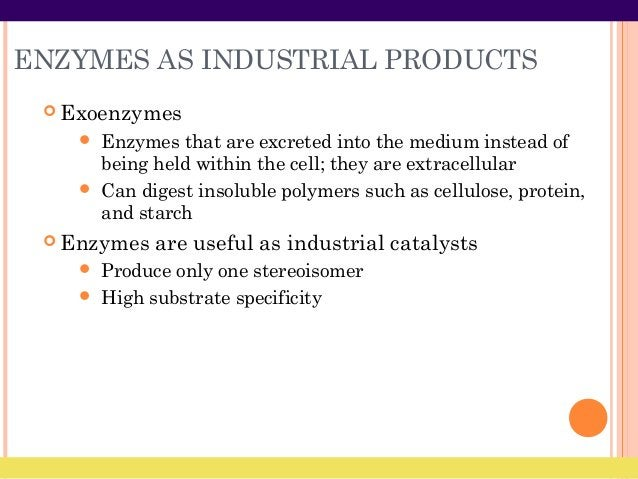 ENZYMES AS INDUSTRIAL PRODUCTS  Exoenzymes  Enzymes that are excreted into the medium instead of being held within the c...