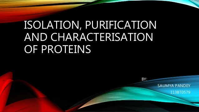 Isolation Purification And Characterisation Of Protein