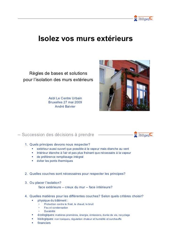 Isolez vos murs extérieurs  Règles de bases et solutionspour l'isolation des murs extérieurs                  Asbl Le Cent...