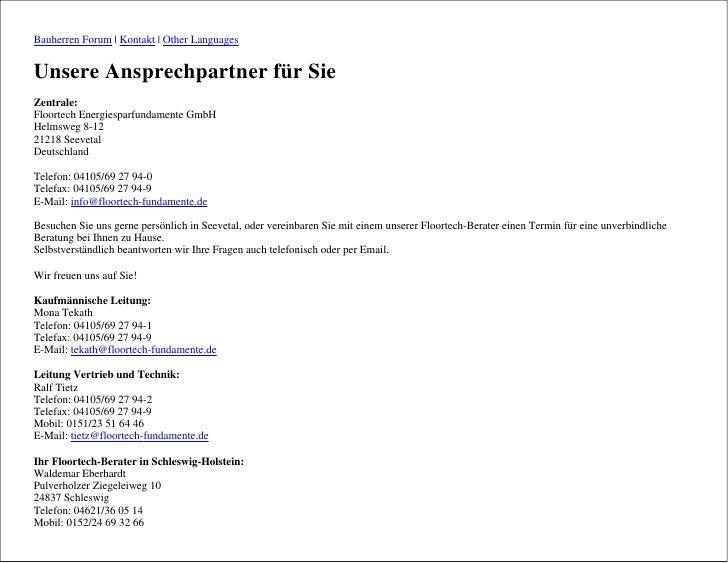 Bauherren Forum | Kontakt | Other Languages   Unsere Ansprechpartner für Sie Zentrale: Floortech Energiesparfundamente Gmb...