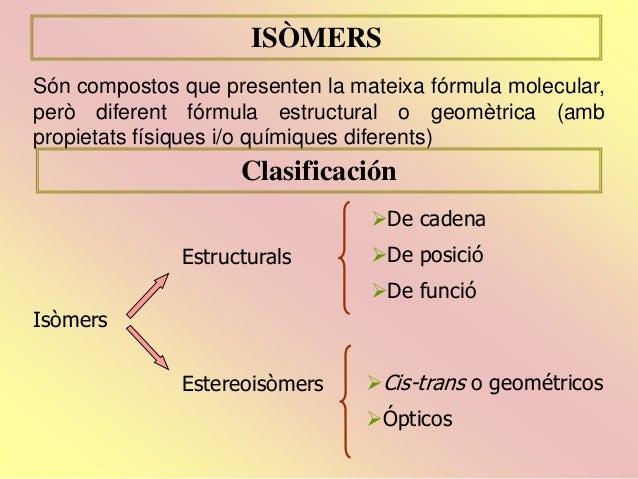 ISÒMERS Són compostos que presenten la mateixa fórmula molecular, però diferent fórmula estructural o geomètrica (amb prop...