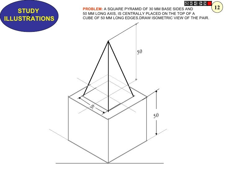 how to draw square based pyramid