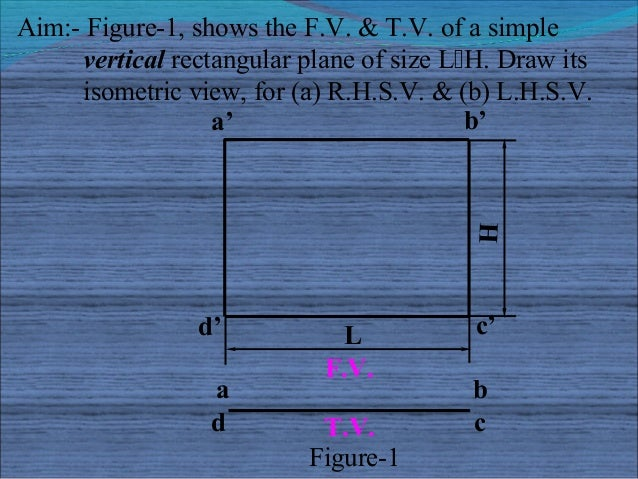 Aim:- Figure-1, shows the F.V. & T.V. of a simple     vertical rectangular plane of size LH. Draw its     isometric view,...