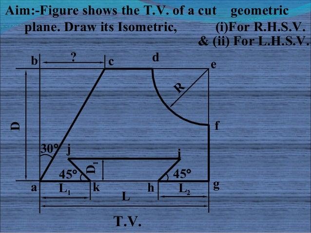 Aim:-Figure shows the T.V. of a cut geometric  plane. Draw its Isometric,       (i)For R.H.S.V.                           ...