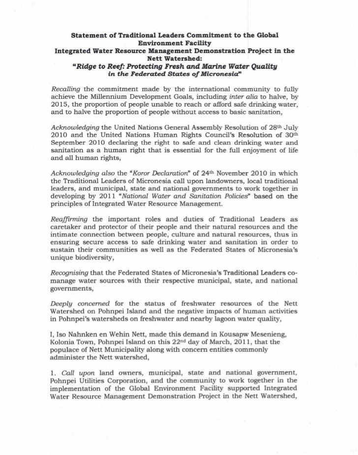 Statement   of Traditional Leaders Commitment to the Global                           Environment Facility Integrated Wate...