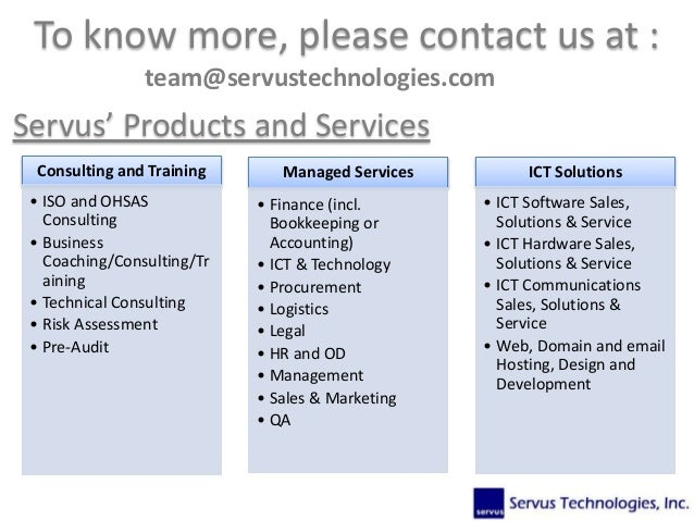 Consulting and Training • ISO and OHSAS Consulting • Business Coaching/Consulting/Tr aining • Technical Consulting • Risk ...