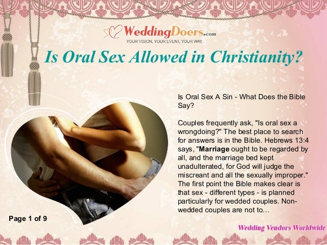 Is oral sex a sin