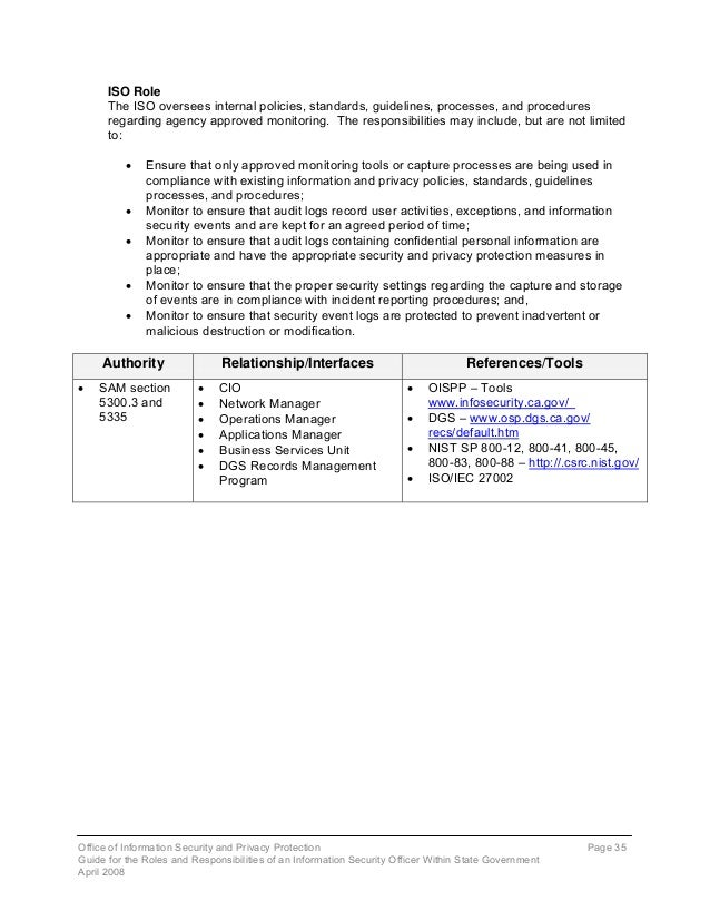 the role of information security This is draft documentation for the new information security policy  these  responsibilities vary based on the functional role of the individual.