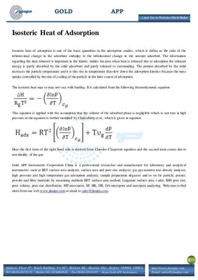 isosteric heat of adsorption