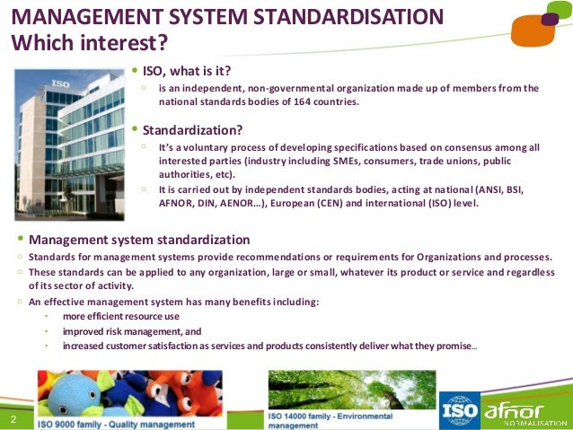 2 ● ISO, what is it? o is an independent, non-governmental organization made up of members from the national standards bod...