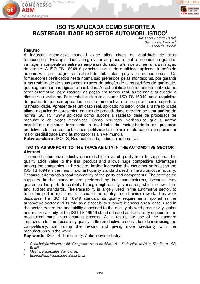 ISO TS APLICADA COMO SUPORTE A     RASTREABILIDADE NO SETOR AUTOMOBILISTICO1                                              ...
