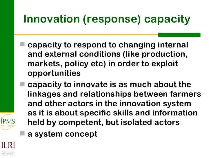 capacity for sustaining agricultural innovation platforms Designing and sustaining systems of higher education, research and innovation human capacity and funding) agricultural sciences: 1 0.
