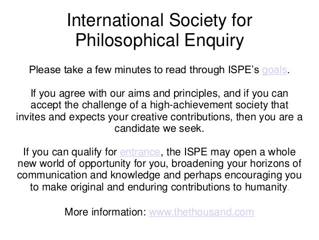 International Society for Philosophical Enquiry (ISPE)
