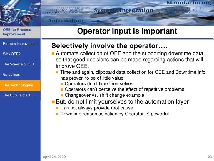 oee implementation in manual process Improving overall equipment effectiveness (oee) at a global food company   defining and implementing a proactive, world-class maintenance process.