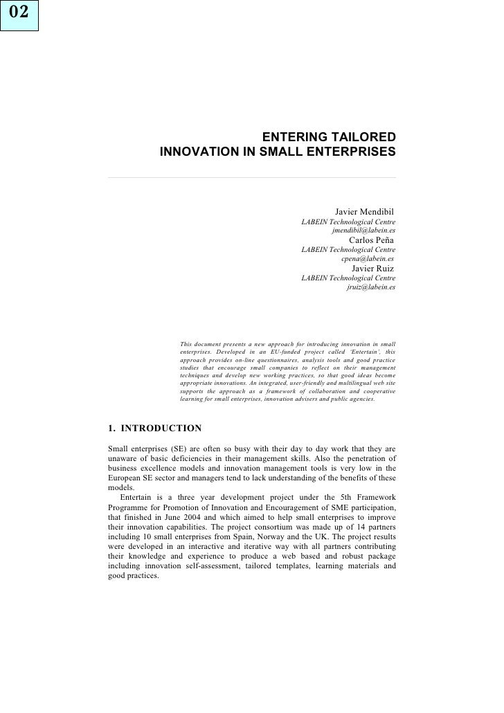 02                                      ENTERING TAILORED                    INNOVATION IN SMALL ENTERPRISES              ...