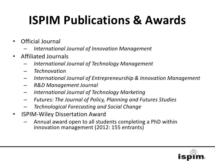 ispim-wiley innovation dissertation award