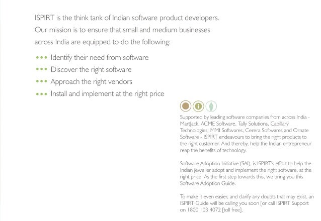 ISPIRT is the think tank of Indian software product developers.   Our mission is to ensure that small and medium businesse...