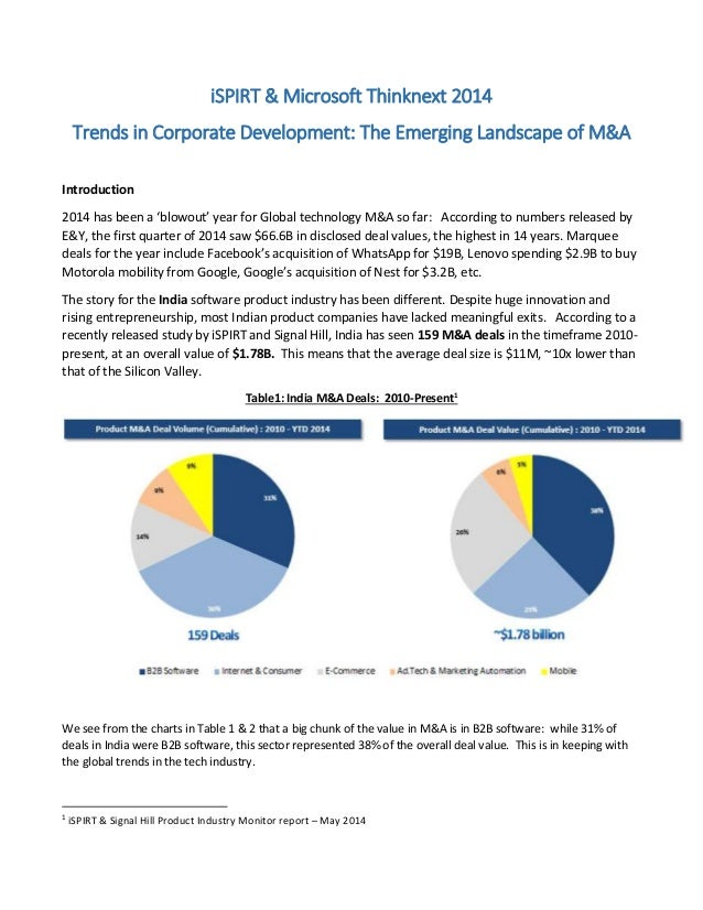 iSPIRT & Microsoft Thinknext 2014 Trends in Corporate Development: The Emerging Landscape of M&A Introduction 2014 has bee...
