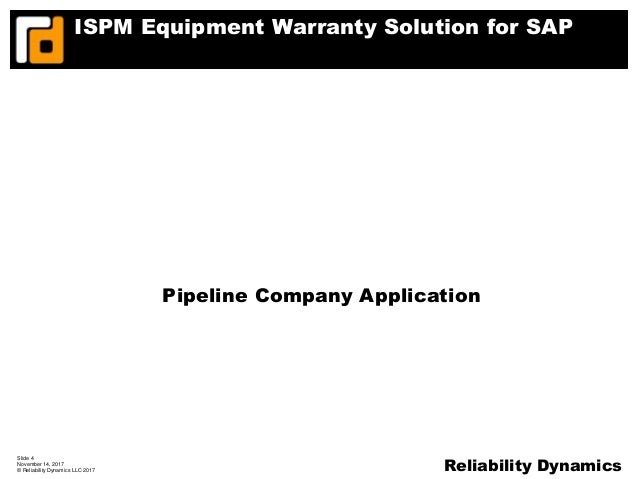 ISPM Equipment Warranty Solution for SAP