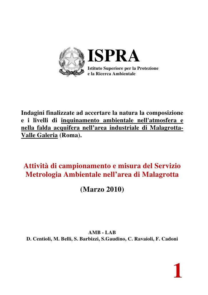 ISPRA                            Istituto Superiore per la Protezione                            e la Ricerca AmbientaleIn...