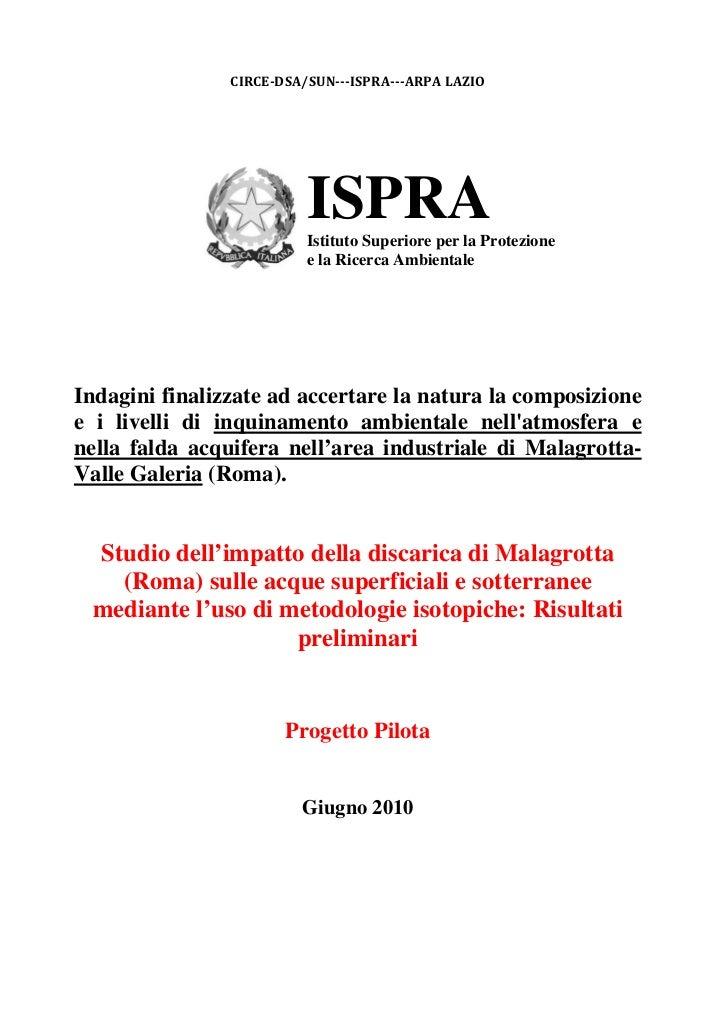 CIRCEDSA/SUNISPRAARPALAZIO                          ISPRA                          Istituto Superiore per la Prote...