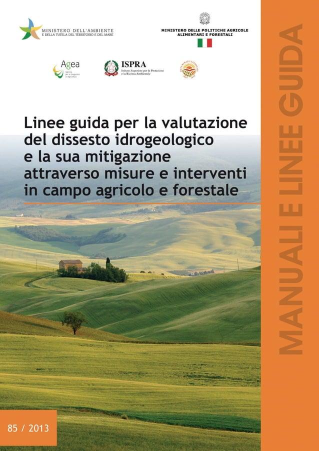 Linee guida per la valutazione del dissesto idrogeologico e la sua mitigazione attraverso misure e interventi in campo agr...