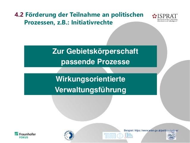 4.2 Förderung der Teilnahme an politischen Prozessen, z.B.: Initiativrechte Beispiel: https://www.wien.gv.at/petition/onli...