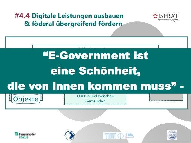 Ministerien Länder Kommunen ELAK Land & BH ELAK/SAP (horizontal) #4.4 Digitale Leistungen ausbauen & föderal übergreifend ...