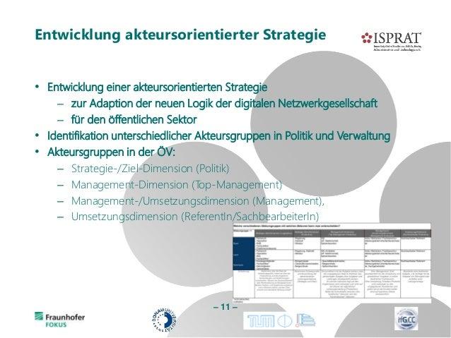 • Entwicklung einer akteursorientierten Strategie – zur Adaption der neuen Logik der digitalen Netzwerkgesellschaft – für ...
