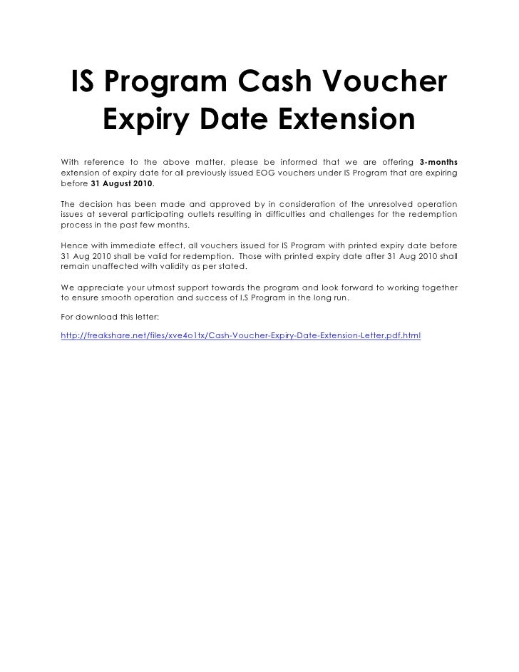 letter asking for extension of deadline is program voucher expiry date extension 15906