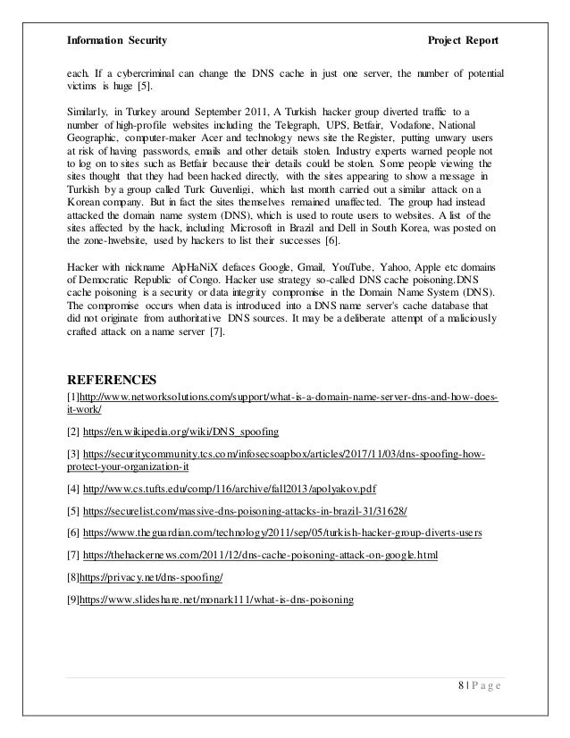 DNS spoofing/poisoning Attack Report (Word Document)