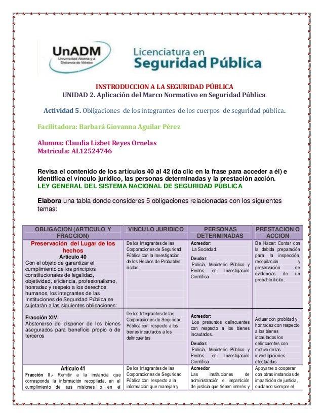 INSTRODUCCION A LA SEGURIDAD PÚBLICA                UNIDAD 2. Aplicación del Marco Normativo en Seguridad Pública.        ...