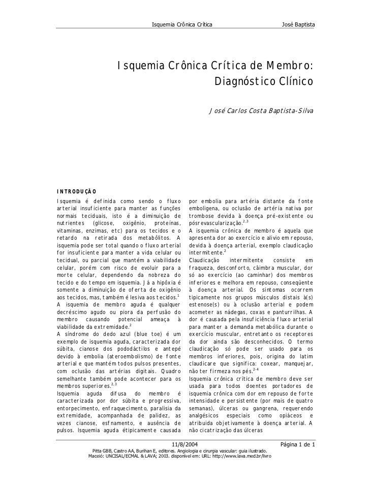 Isquemia Crônica Crítica                                       José Baptista                          Isquemia Crônica Crí...