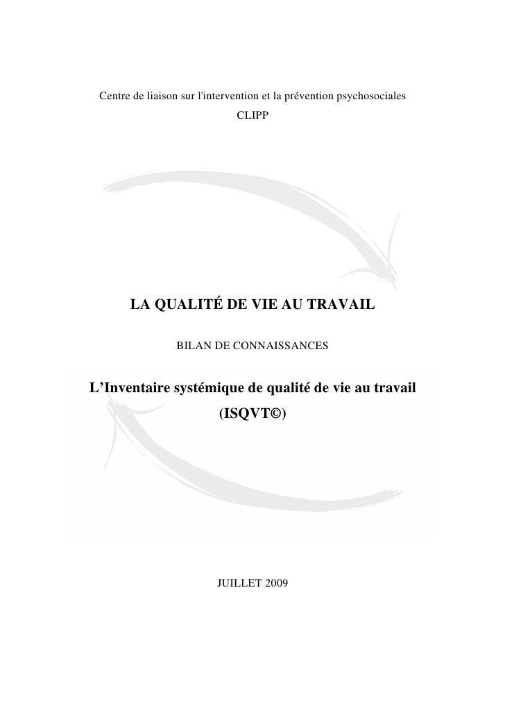 Centre de liaison sur lintervention et la prévention psychosociales                               CLIPP       LA QUALITÉ D...