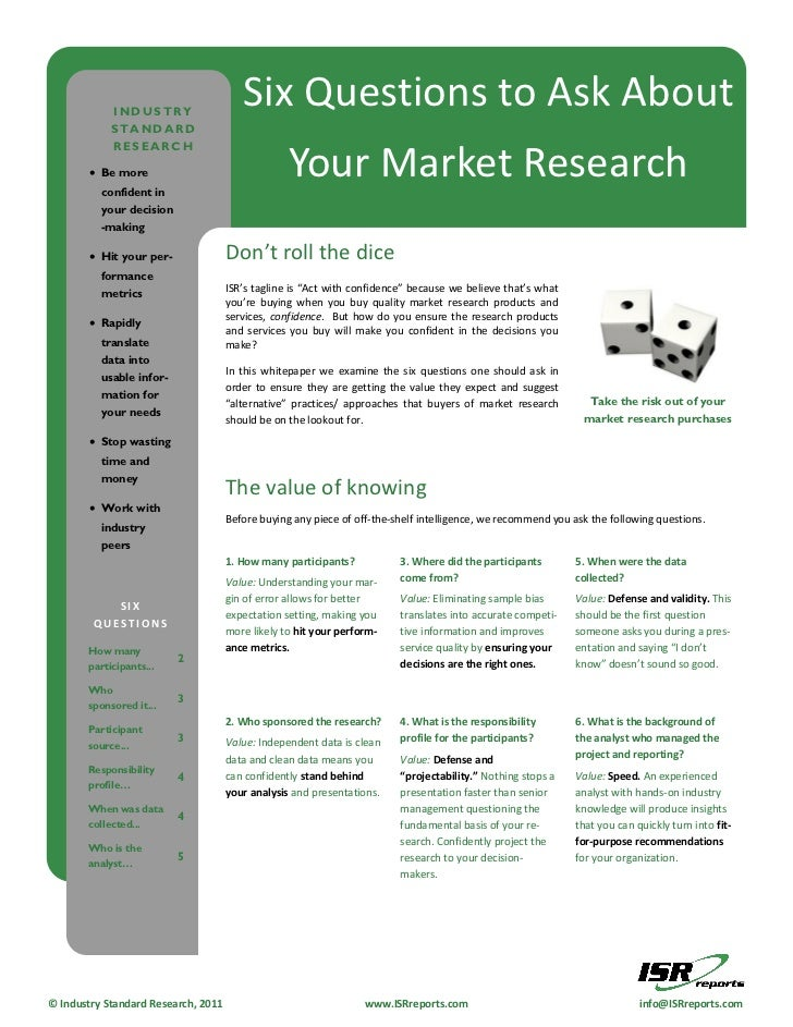 INDUSTRY                                        Six Questions to Ask About            STANDARD            RESEARCH        ...
