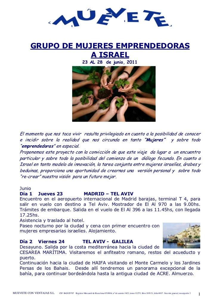 GRUPO DE MUJERES EMPRENDEDORAS                      A ISRAEL                                                     23 AL 28 ...