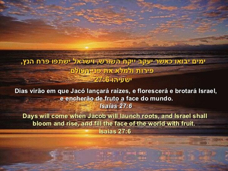 Dias virão em que Jacó lançará raízes, e florescerá e brotará Israel, e encherão de fruto a face do mundo. Isaías 27:6 ימי...