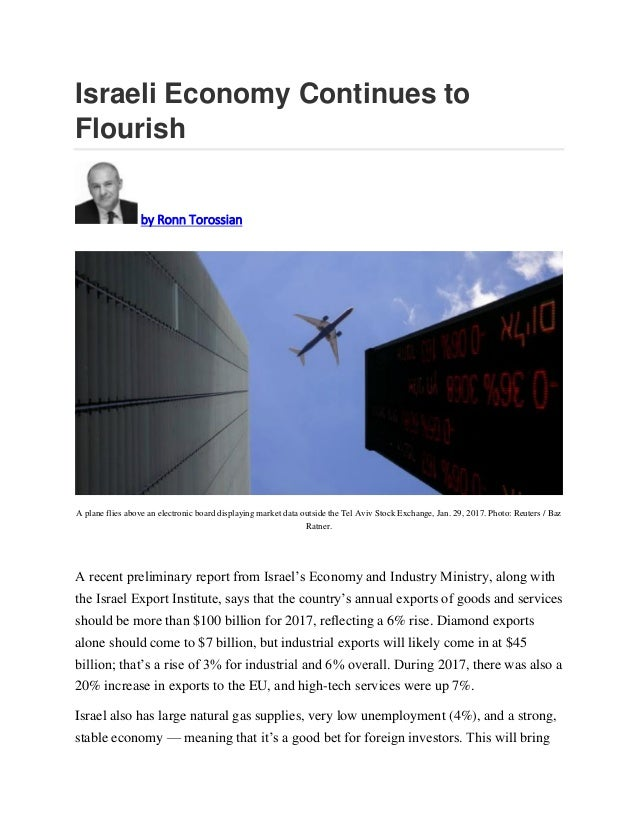 Israeli Economy Continues to Flourish by Ronn Torossian A plane flies above an electronic board displaying market data out...