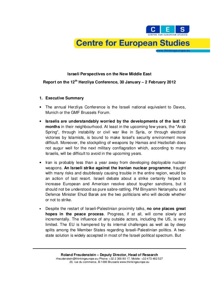 Israeli Perspectives on the New Middle East    Report on the 12th Herzliya Conference, 30 January – 2 February 20121. Exec...