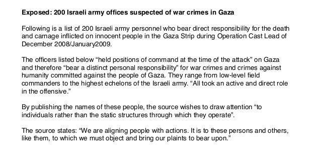 Exposed: 200 Israeli army offices suspected of war crimes in Gaza Following is a list of 200 Israeli army personnel who bea...