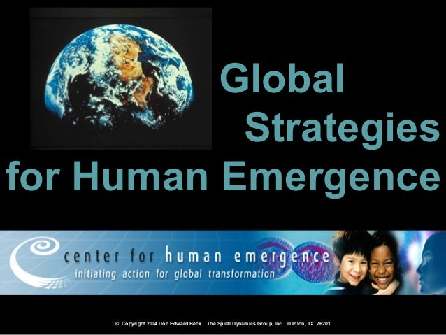 © Copyright 2004 Don Edward Beck The Spiral Dynamics Group, Inc. Denton, TX 76201 GlobalGlobal StrategiesStrategies for Hu...