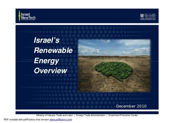 Israel's                          Renewable                          Energy                          Overview             ...