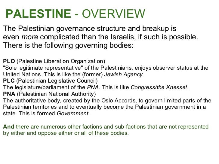 an overview of palestinian liberation organization Overview the palestine liberation organization (plo) is the representative body of the palestinian people it comprises an umbrella group of various palestinian.